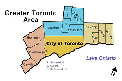Map of GTA serviced by General Gas Services